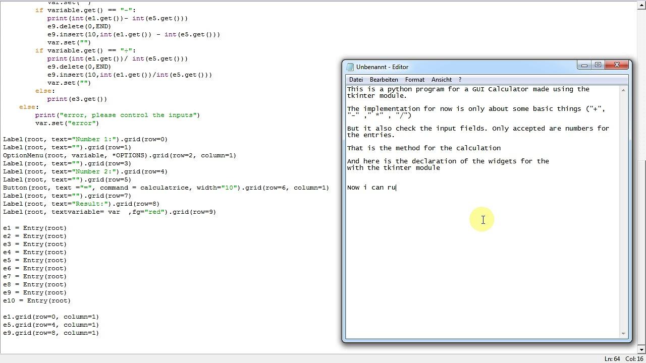 Python tkinter calculator code