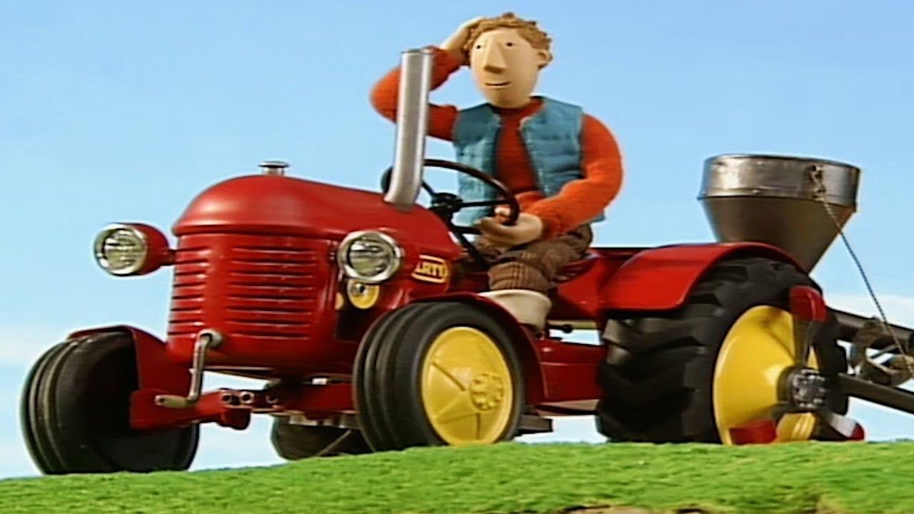 Kleiner roter traktor fliegende kartoffeln cartoon