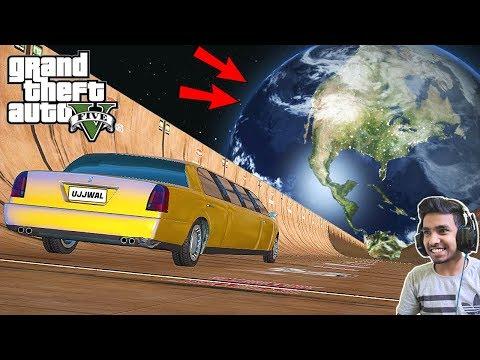 GTA 5 : TECHNO GAMERZ GOLD LIMOUSINE Vs MEGA RAMP FROM THE SPACE   GTA V GAMEPLAY