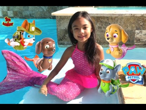 Paw Patrol Magic Mer Pups Paddlin Pup Swimming with Real Mermaid | Toys Academy
