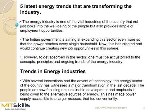 5 latest energy trends that are transforming the industry, MITSkills, Pune