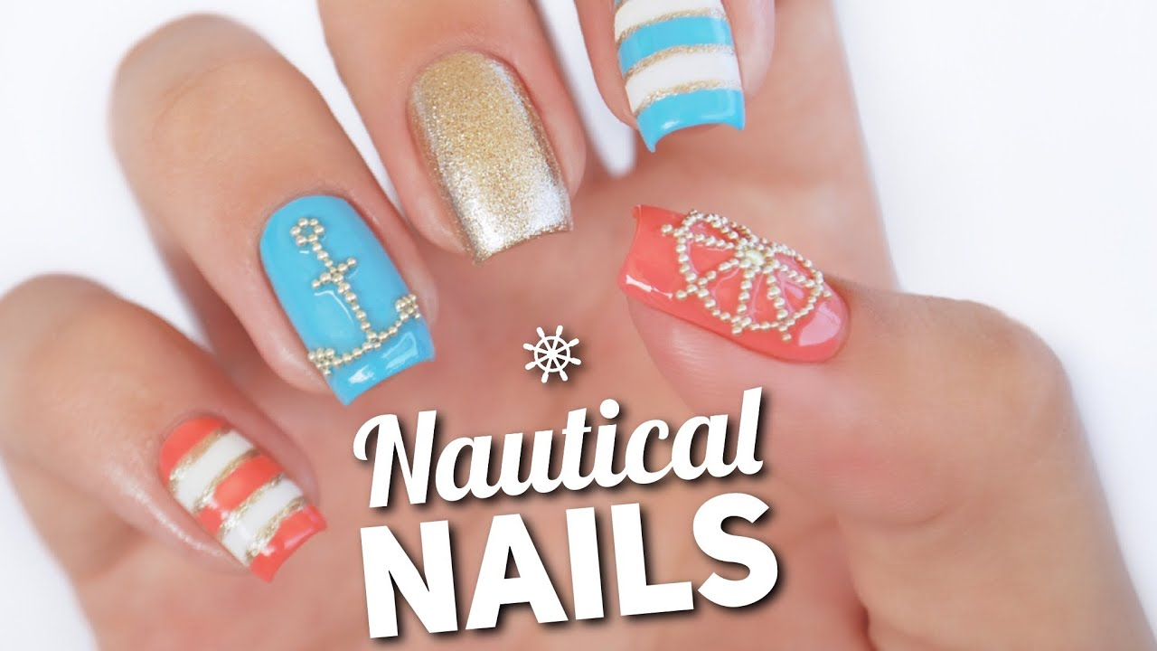 Nautical Nail Art Design | Microbead Manciure - YouTube