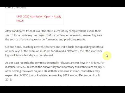 UKSSSC Junior Assistant Answer Key 2019 @ sssc.uk.gov.in ...