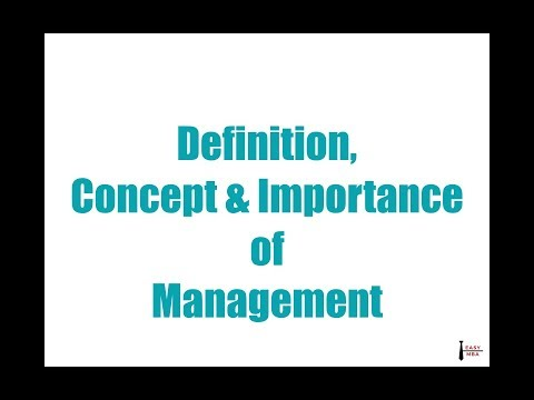 Definition, concept & importance of management