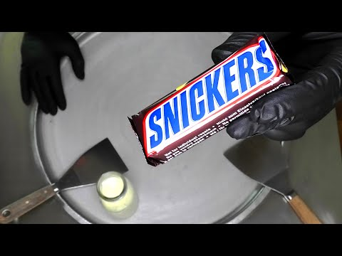 Snickers Ice Cream Rolls | how to make Snickers chocolate bar Caramel Ice Cream | satisfying ASMR