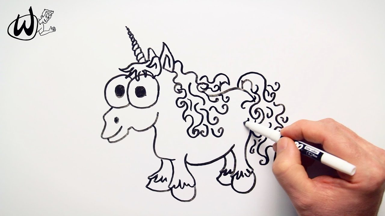 How To Draw A Cute Unicorn Drawing Doodle Words To Cartoon