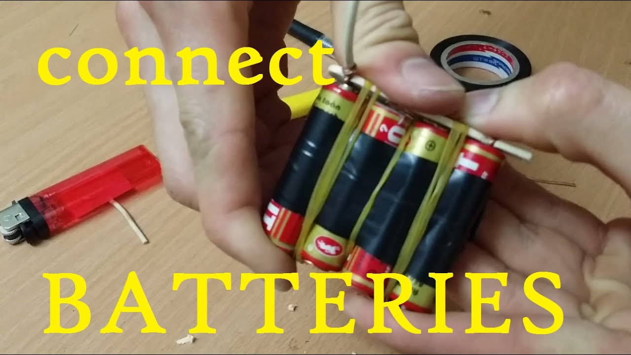 how to connect 4 batteries and 3 bateries together life hack youtube rh youtube com Connecting Two Batteries Together Connecting 12V Batteries Together
