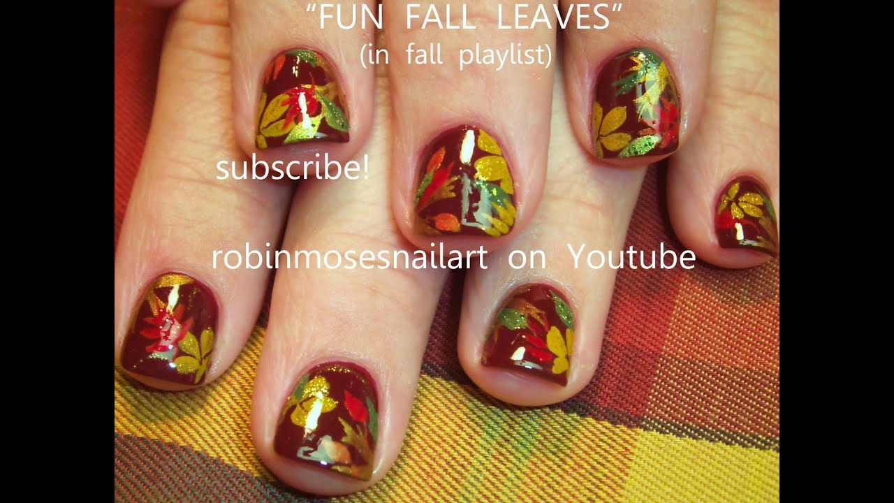 DIY Fall Leaf Nails | Easy Autumn Leaves Nail Art Design Tutorial - YouTube - DIY Fall Leaf Nails Easy Autumn Leaves Nail Art Design Tutorial