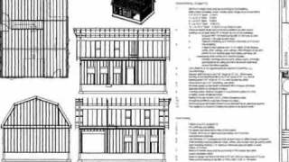 G440  28' X 36' X 10' Gambrel Barn Workshop Plans Blueprint