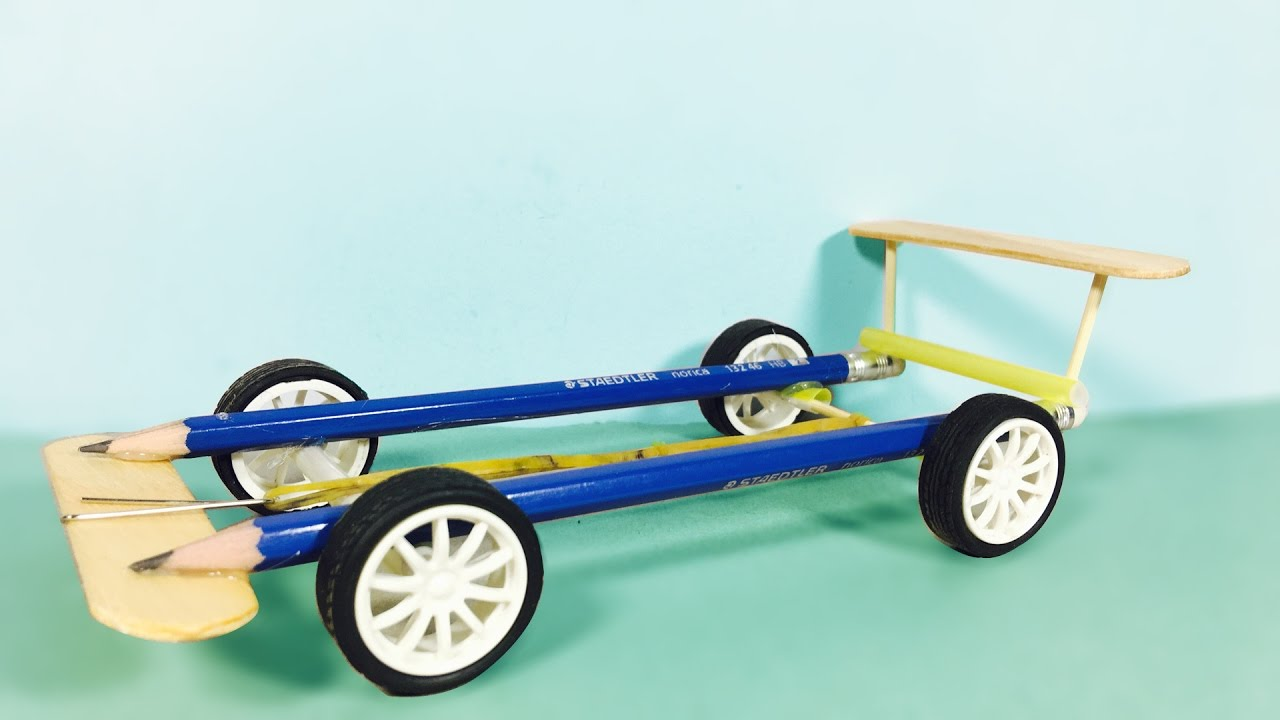 How To Make Car Using Rubber Bands Youtube