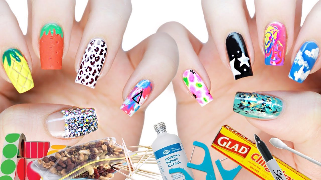 10 DIY Nail Art Designs Using HOUSEHOLD ITEMS! | The Ultimate Guide #3 - YouTube