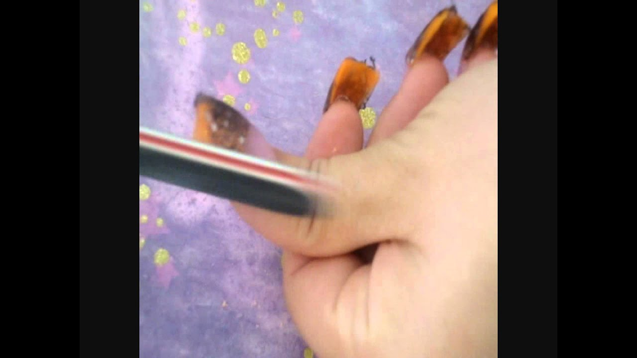 Fall / Halloween nails- Acrylic Nails - YouTube
