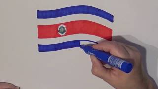 Learn geography for kids How to draw a flag Costa Rica