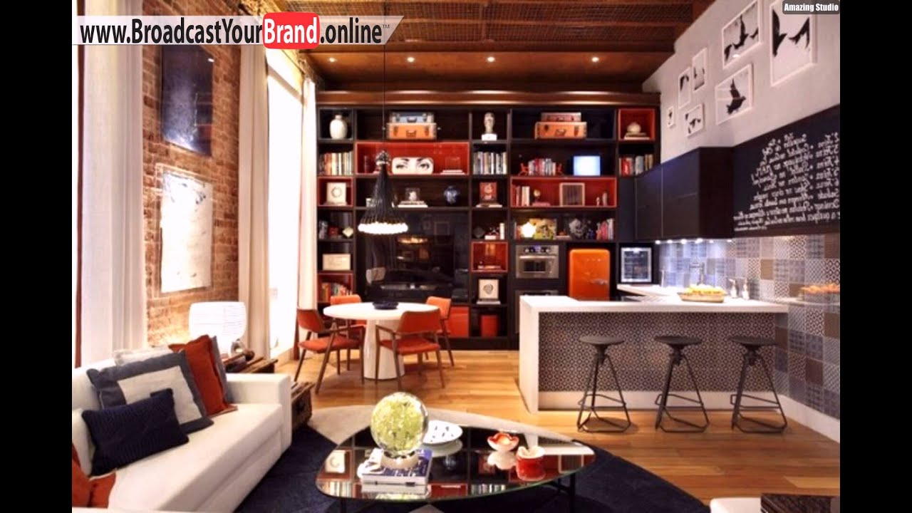 wohnzimmer k che zusammen wohnwand junggesellenwohnung orange schwarz youtube. Black Bedroom Furniture Sets. Home Design Ideas