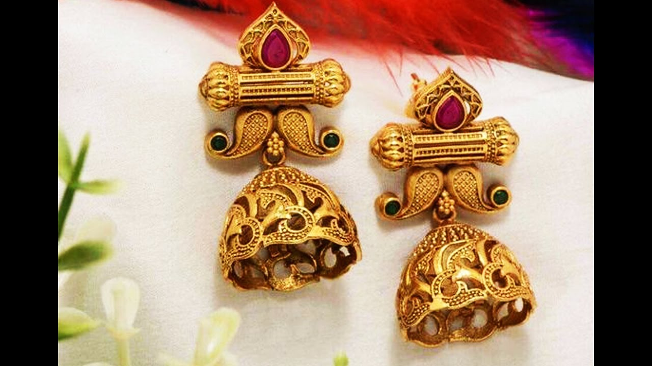 Earrings Designs In Gold Jhumka With Weight Gold Jhumka Designs ...