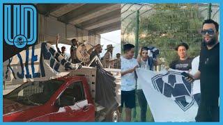 Alrededor de 100 vehículos se han dado cita en El Barrial, lugar de entrenamiento de los Rayados, con la intención de acompañarlos al estadio BBVA