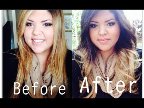 Dying my hair blonde to brown ombre before after pics youtube blonde to brown ombre before after pics youtube urmus