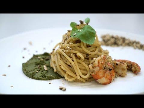 Spaghetti con zucchine, gamberi e Shiitake IoBoscoVivo