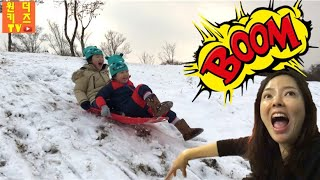 달려라! 겨울엔 역시 눈썰매~ 하이원리조트 눈썰매장 눈싸움 눈썰매타기 스키장 [원더키즈tv가 간다] snow sleigh racing
