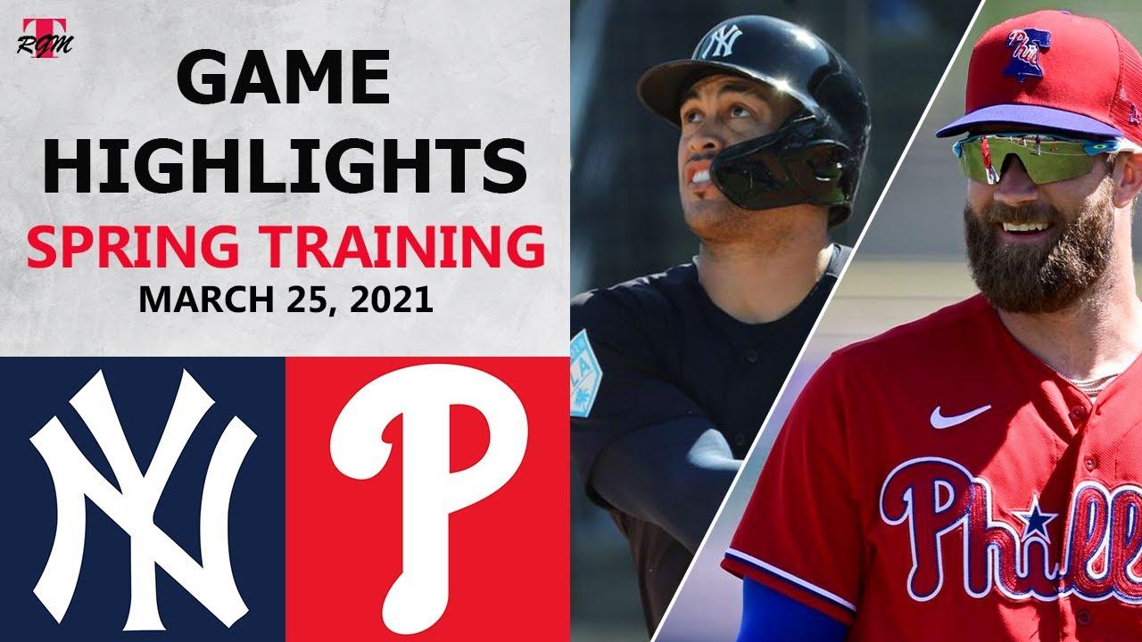 New York Yankees vs. Philadelphia Phillies Highlights   March 25, 2021 (Spring Training)
