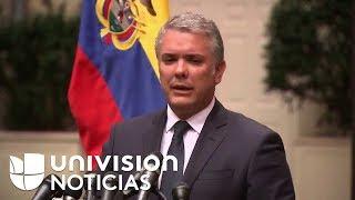 El presidente de Colombia, Iván Duque, da una conferencia tras su reunión con Donald Trump.