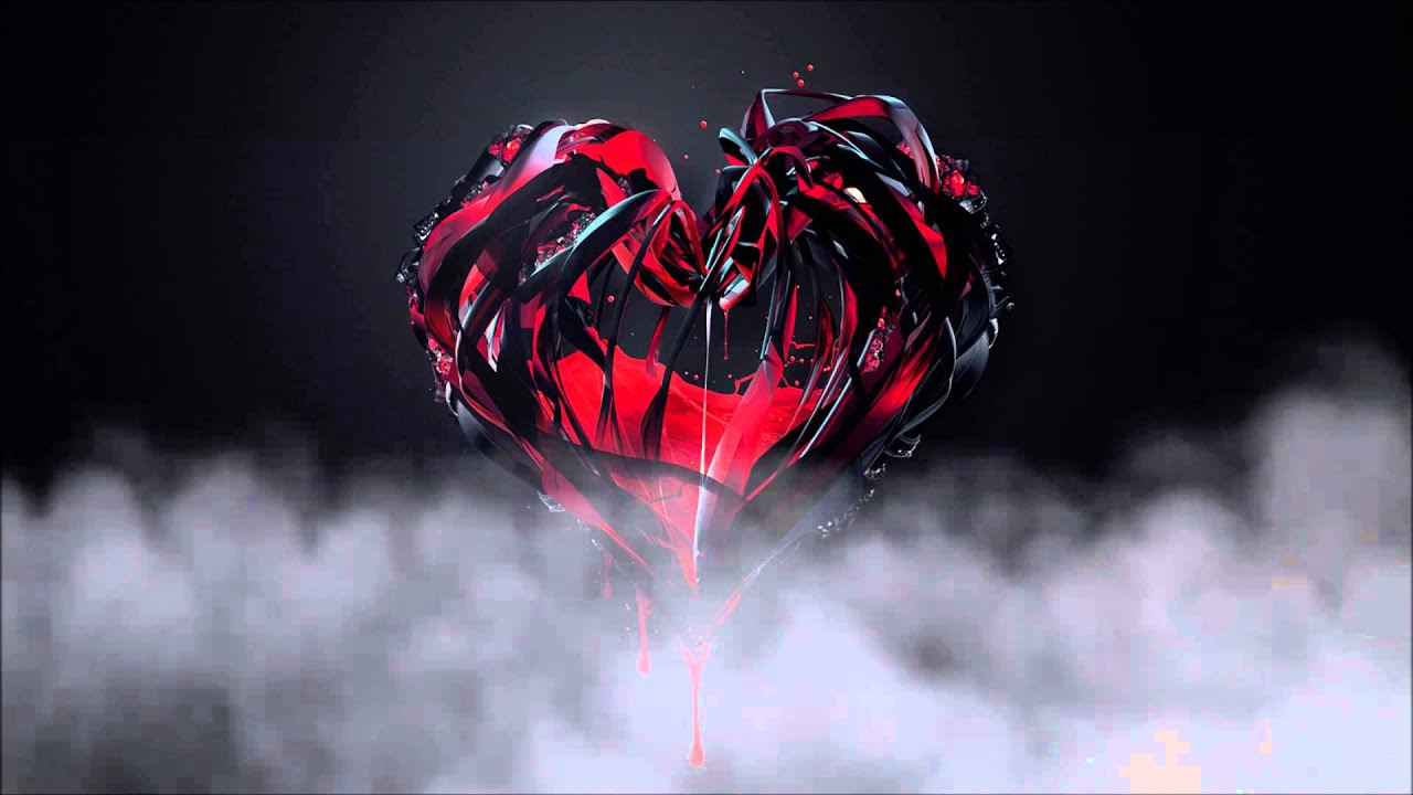 3D Red Crystal Heart With Moving Clouds
