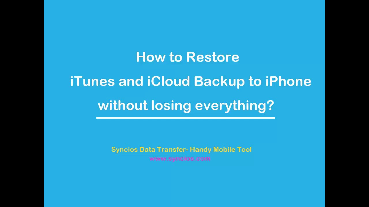 Restore iTunes and iCloud backup to iPhone5/6/7/8 without losing everything!