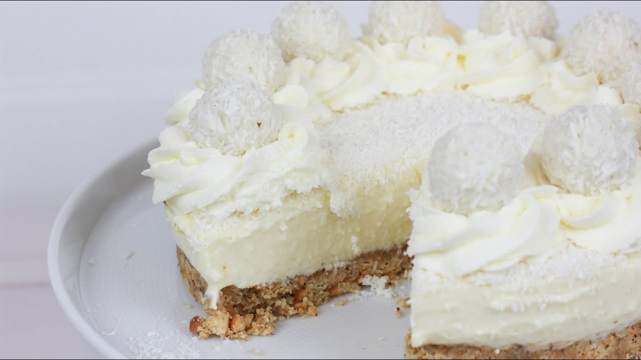 Raffaello Torte Ohne Backen No Bake Raffaello Cheesecake Youtube