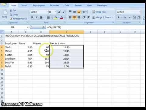 00001 production per hour calculation using microsoft excel youtube