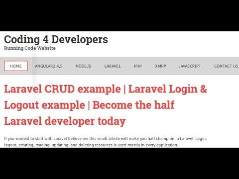 Laravel CRUD example   Laravel Login & Logout example   Coding 4