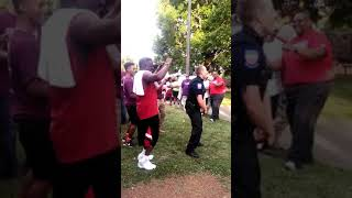 """Police Officer Dancing """"Cupid Shuffle"""" at Block Party"""