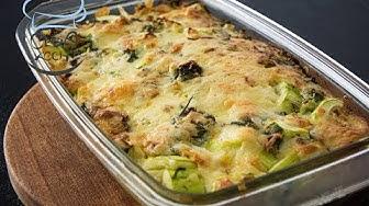 Zucchini Auflauf mit Gouda Käse überbacken | Rezept
