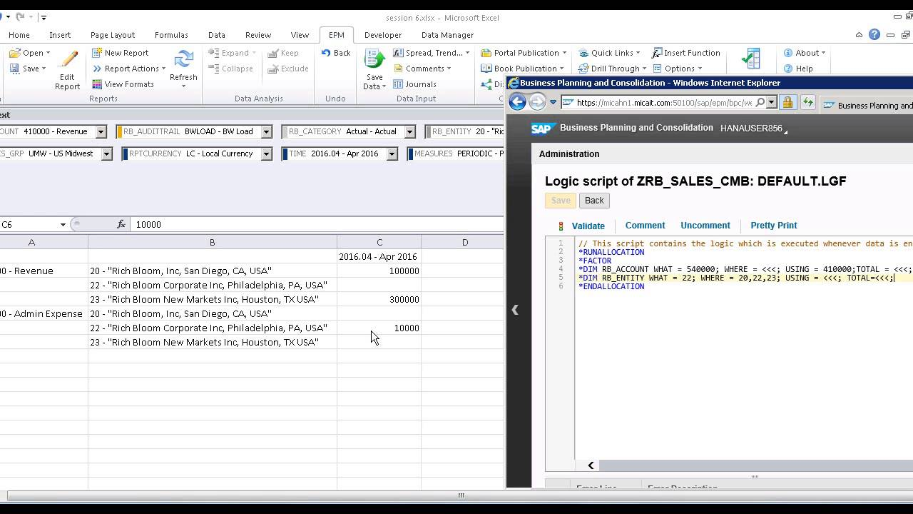 *RUNALLOCATION Command: SAP BPC Logic Script