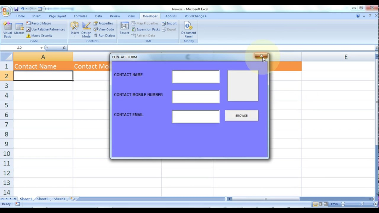 microsoft excel how to create contact book in excel using vba part 1