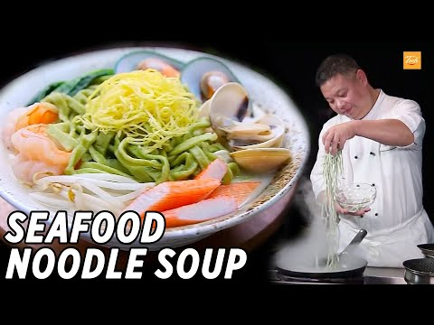 Fresh Spinach Noodle Soup with Seafood l 海鮮菠菜面