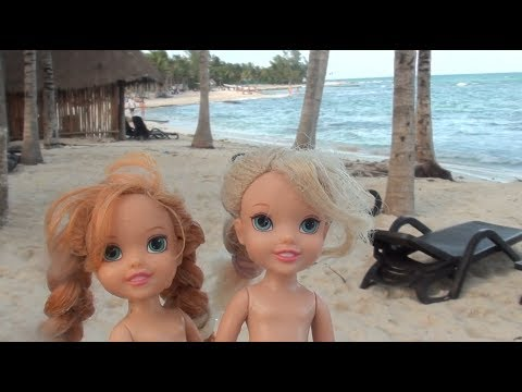 Elsa and Anna toddlers beach adventure and shark attack