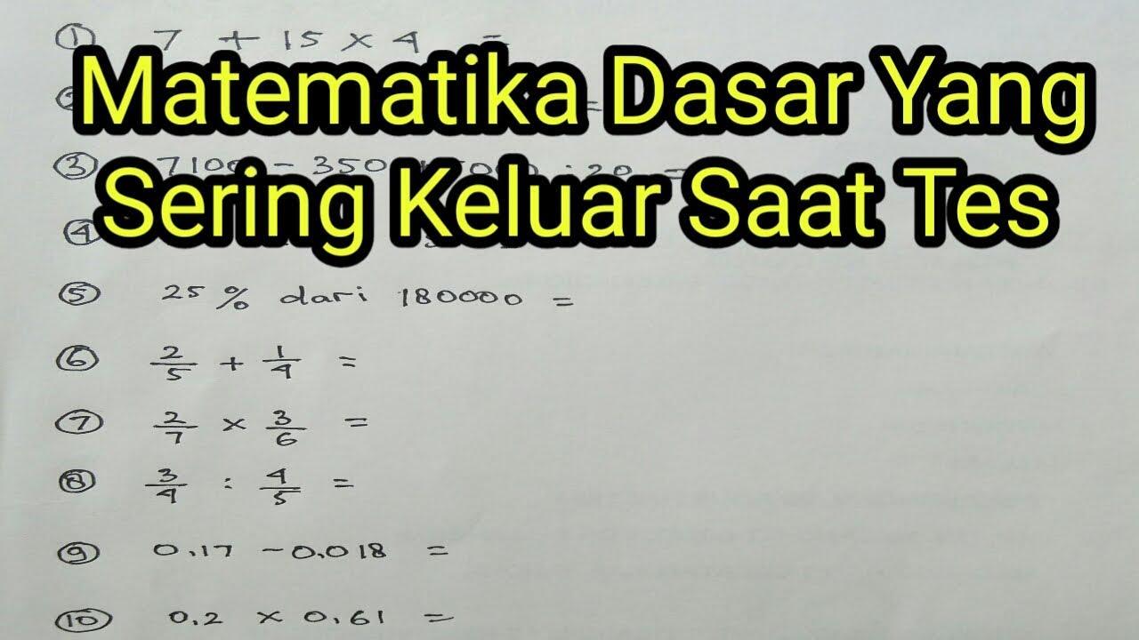 Matematika Dasar Buat Tes Kerja