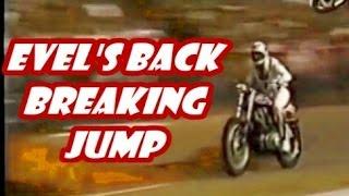 EVEL KNIEVEL breaks his back JUMPING 11 MACK TRUCKS