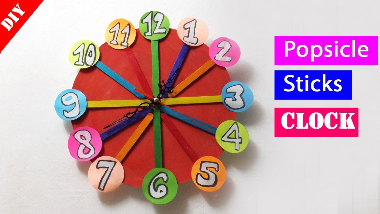 Diy Popsicle Stick Clock Easy Crafts Ideas Youtube