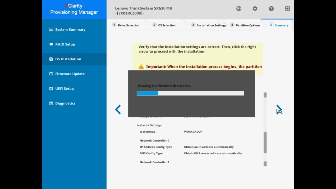Lenovo ThinkSystem XClarity Provisioning Manager - LXPM OS Installation