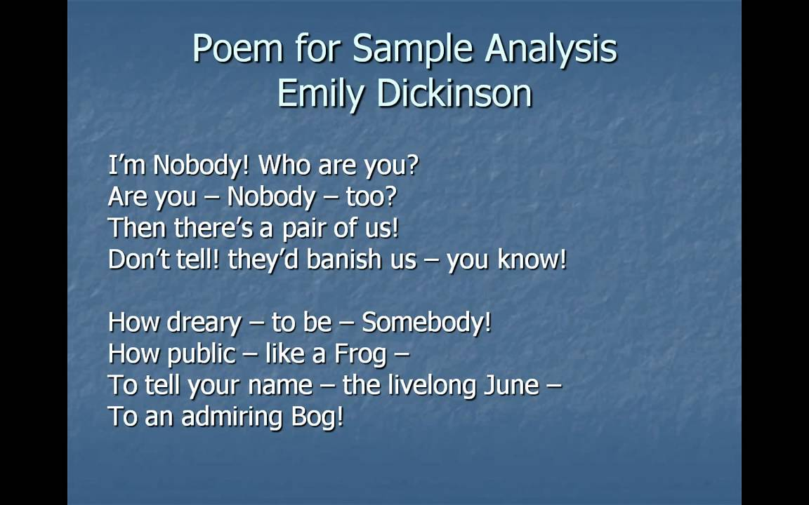 How to analyze the poem
