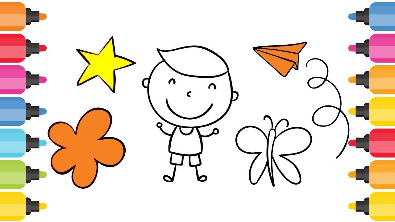 Cocuk Kelebek Yildiz Cicek Ve Ucak Boyama Oyunu Youtube