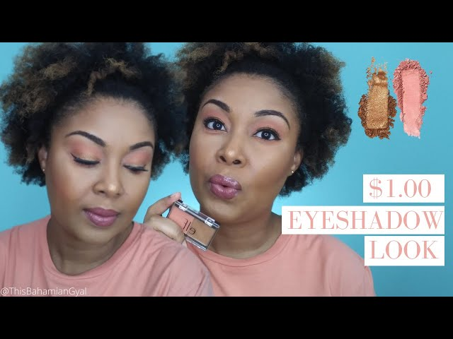 $1 Makeup Look | ELF Peach Squad Eyeshadow | Peach Eyeshadow Tutorial | This Bahamian Gyal