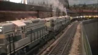 mth trains 4 pwr emd gp 9 s fighting the pull