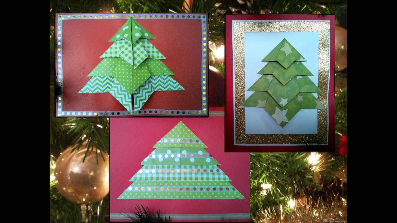 3 easy origami christmas tree cards diff 1 10 2 10 for How to make folded christmas cards