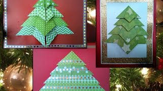 How To Make 3 Easy Origami Christmas Tree Cards (difficulty 1/10 And 2/10)
