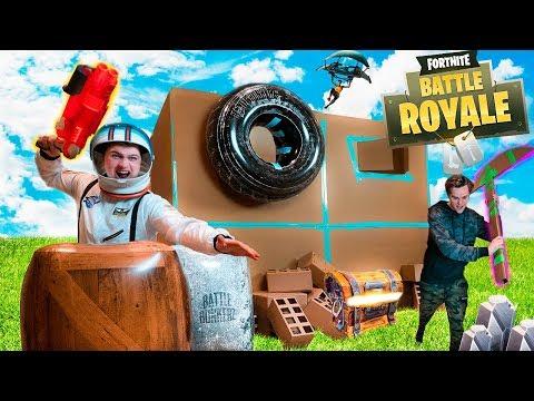 FORTNITE IN REAL LIFE BOX FORT!! Fortnite Nerf War Challenge!