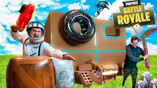 FORTNITE IN REAL LIFE BOX FORT!! 📦⛏Fortnite Nerf War Challenge!