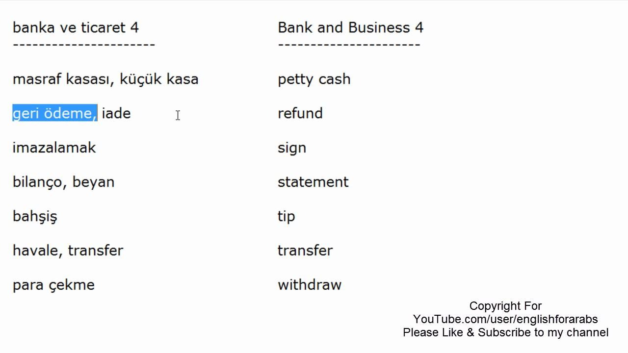 Bank and Business vocabulary in Turkish part 4 - Turkish For Beginners