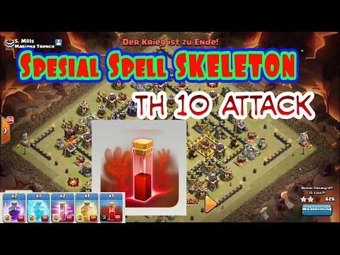 MAU TAU Cara Attack BASE Anti Lavalon TH 10. SPESIAL Spell SKELETON